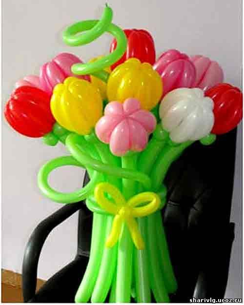 Букет тюльпанов из воздушных шаров - Первые цветы