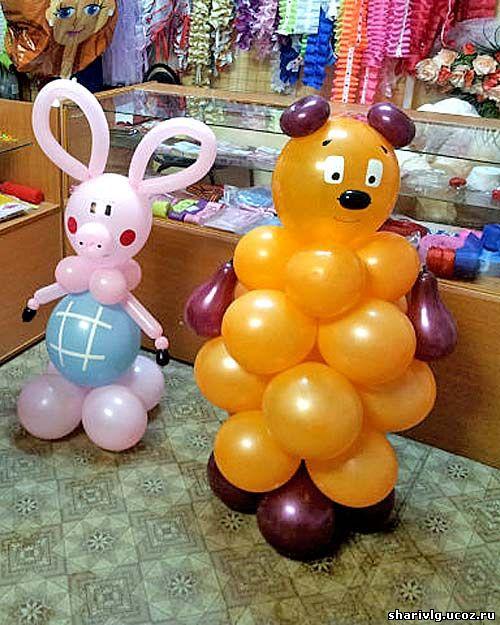 Пятачок и Вини пух из воздушных шаров