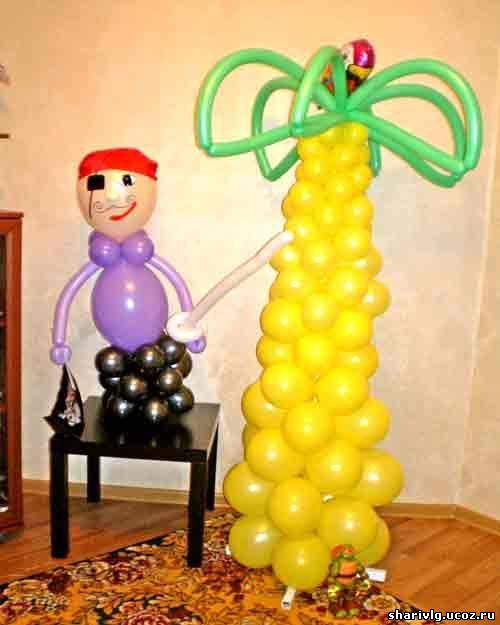 Пальма и пират из воздушных шаров