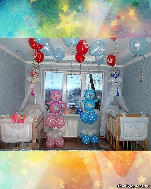 Оформление комнаты новорожденного - Композиция с мишкой