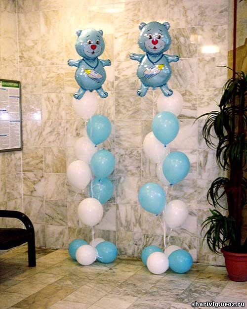 Фонтан из гелиевых воздушных шаров с мишкой