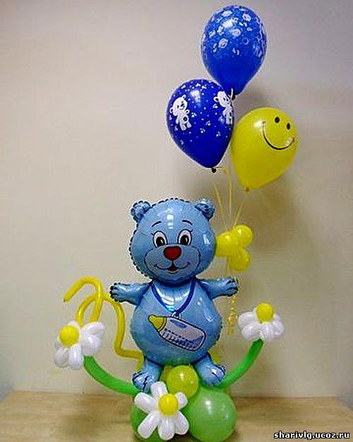 Композиция из воздушных шаров - Медвежонок на цветочной поляне