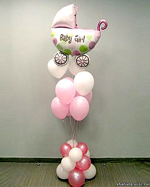 Фонтан из гелиевых воздушных шаров с детской коляской